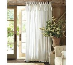 how to tie curtains textured cotton tie top drape pottery barn