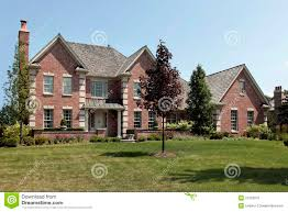 baby nursery large home large brick home white columns stock