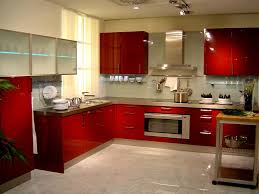 fancy red accents mirrored kitchen furniture design idea feat