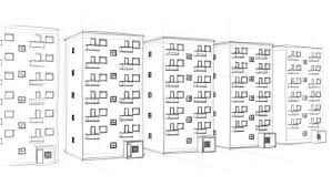 animated drawing of tenement houses on white background full hd