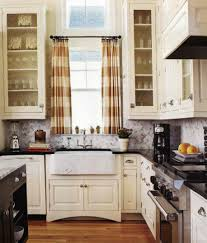 Kitchen Window Curtains Ideas by White Painting Solid L Shape Kitchen Cabinet Ideas For Kitchen