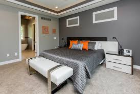 Gray Carpet Bedroom by Orange Black White With Gallery Wall Dining Room Modern And
