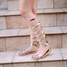 gladiator strappy sandals knee high toe ring metallic leather