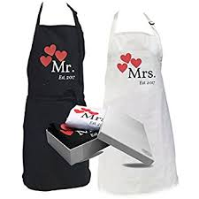 his and hers items mr and mrs apron couples gift wedding kitchen