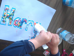 name writing paper decorating names activity craft preschool powol packets 1 prepare the paper by writing or printing your child s name in bubble block letters place a piece of aluminum foil under the paper so it doesn t stick