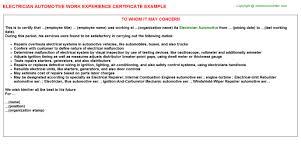 electrician automotive work experience certificate