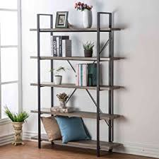 Metal And Wood Bookshelves by Amazon Com Hsh Furniture 5 Shelf Vintage Industrial Bookcase