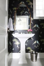 Kohler Stately Pedestal Sink Chinoiserie Powder Room With Corner Sink Vanity Transitional