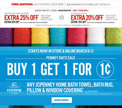 jcpenney buy one get one for only 0 01 on any jcpenney bath