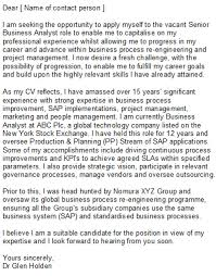 cover letter for business analyst position sample cover letter
