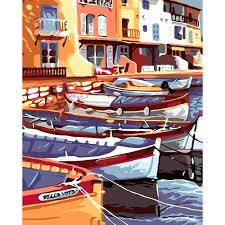 paint by number wall mural promotion shop for promotional paint by diy digital painting by numbers kits landscape harbor boats oil painting canvas art prints by paint brush wall mural decals
