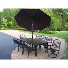 Patio Dining Sets With Umbrella Oakland Living Rochester 9 Piece Patio Dining Set With Umbrella In