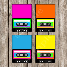 totally eighties editable cassette food labels tent cards