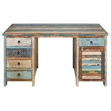 bureau bois recyclé bureau 1 porte 5 tiroirs en bois recyclés peints maisons du monde
