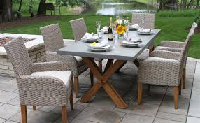 composite rectangle dining table with trestle teak base