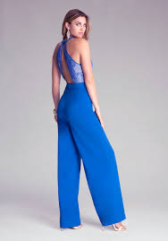 bebe jumpsuit lyst bebe lace bodice wide leg jumpsuit in blue