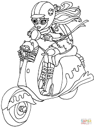 ghoulia on bike coloring page free printable coloring pages