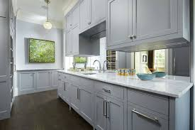 kitchen narrow gray kitchen with mirror backsplash also one hole