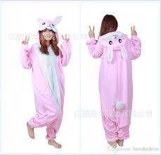 Halloween Onesie Costumes Modest Pink Unisex Rabbit Pajamas Kigurumi Cosplay