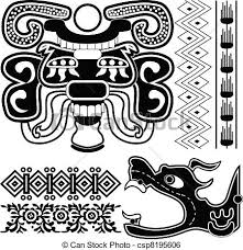 clip vector of mayan ornaments with ancient american