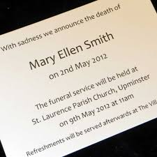 funeral invitation sle funeral notification cards 28 images personalised stationery