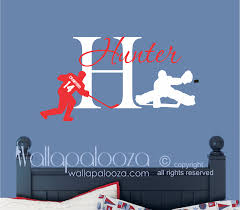 hockey wall decal with initial and name wallapalooza decals