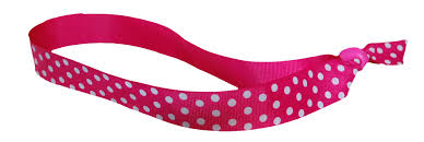 pink headband adjustable ribbon headband hot pink with white polka dots