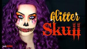 glitter skull halloween makeup tutorial jade madden youtube