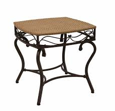 Patio Furniture Wicker Resin - amazon com wicker resin steel patio side table in honey finish