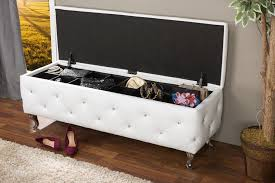 White Leather Storage Ottoman White Leather Storage Ottoman Bench Home Inspirations Design