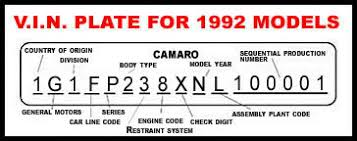 camaro vin decoding and tag info camaro zone camaro forums and