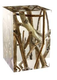 Driftwood Decor Driftwood Branches In Acrylic Side Table By Michael Dawkins
