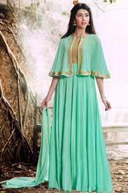 stunningly embroidered georgette fabric party wear sea green color