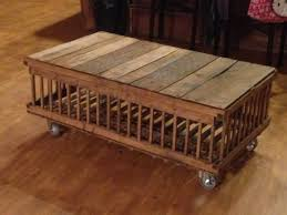 my coffee table made out of an old chicken crate chicken coops