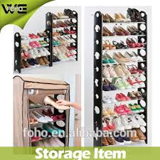 30 pair shoe cabinet 10 tier stackable shoe rack with non woven cover hold 30 pair shoes