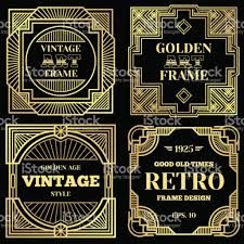 Art Deco Design Luxury Poster Vector Design With Gold Frames In Art Deco Old