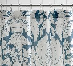 Blue Damask Shower Curtain Damask Linen Shower Curtain Pottery Barn