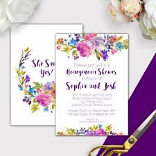 garden honeymoon shower invitations printable purple