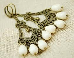 Chandelier Beaded Earrings White Bead Chandelier Earrings Etsy