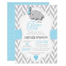 baby shower baby blue white gray elephant baby shower card zazzle
