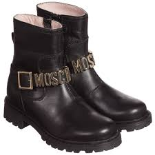 black leather biker boots moschino kid teen girls black leather biker boots u0026 gold logo