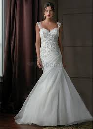 robe de mariã e traine robe de mariée sirene dentelle traine de organza avec manche