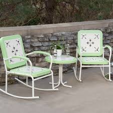 Rocking Folding Chair Mint Green Retro Patio 3 Pc Metal Rocker Rocking Chair Set