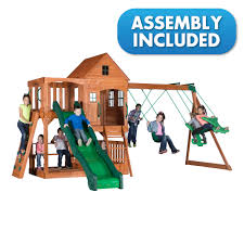 backyard discovery pacific view all cedar swingset delivery and