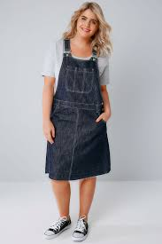 indigo blue denim dungaree pinafore dress with front pocket plus