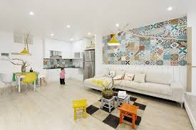 contemporary apartment adorned with colorful wall tiles