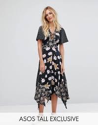 tã ll brautkleider kleid mit zipfelsaum und unterschiedlichem print damen