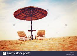 Two Beach Chairs Tropical Beach View Two Beach Chairs With Sun Umbrellas Vacation