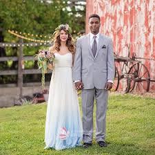 ombré wedding dress strapless white chiffon simple wedding dress with blue