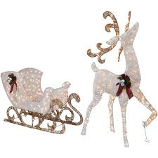 Lighted Santa And Reindeer Outdoor by Pre Lit Reindeer Outdoor Outdoor Designs